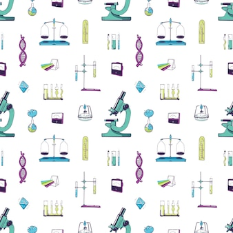 Wzór ze sprzętem laboratoryjnym chemii i fizyki. tło z narzędziami pomiarowymi do eksperymentu naukowego, badania, badań. ręcznie rysowane realistyczne ilustracji wektorowych do druku tekstylnego.