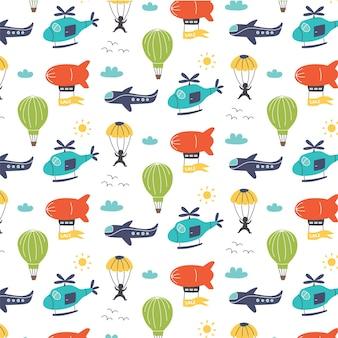 Wzór ze sterowcem transportu lotniczego, helikopterem, samolotem, spadochroniarzem. cyfrowy papier przedszkola, ręcznie rysowane ilustracji wektorowych