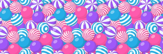 Wzór ze stosem pasiastych kulek, gumy do żucia, okrągłych cukierków lub sprężystych kul plażowych. wektor kreskówka tło z wieloma słodkimi drażetkami ze spiralnym wzorem, gumami do żucia lub plastikowymi zabawkami sportowymi