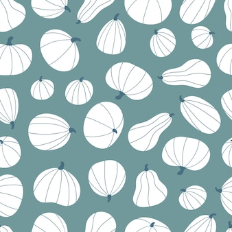 Wzór ze stylizowanymi białymi dyniami na zielonym tle