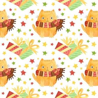 Wzór ze świątecznymi pudełkami na prezenty i uroczymi kotami z uroczymi kotami z zimowymi szalikami