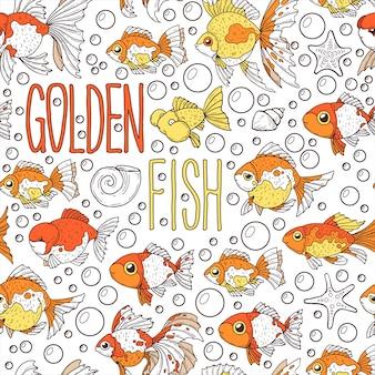 Wzór ze złotą rybką.