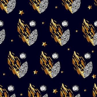 Wzór ze złotymi i srebrnymi liśćmi kamieni szlachetnych na ciemnoniebieskim tle wektora
