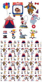 Wzór ze zwierzętami cyrkowymi