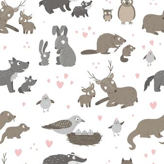Wzór ze zwierzętami dla dzieci i ich rodzicami