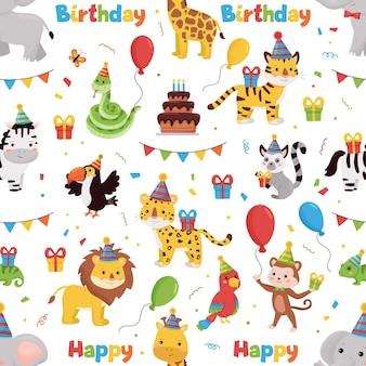 Wzór ze zwierzętami dżungli, prezentami, balonami i flagami. ilustracja szczęśliwy urodziny.