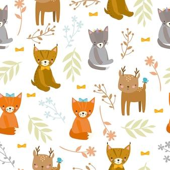 Wzór ze zwierzętami leśnymi