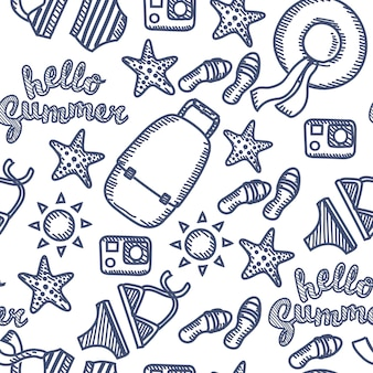Wzór zestaw ilustracji konspektu z wakacji