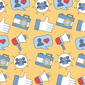 Wzór zestawienia mediów społecznościowych linii i ikony stylu wypełnienia projektu ilustracji