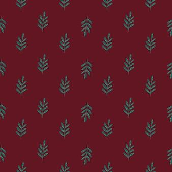 Wzór zielony ornament liści kolorowych. doodle ukośny ornament z bordowym tłem.