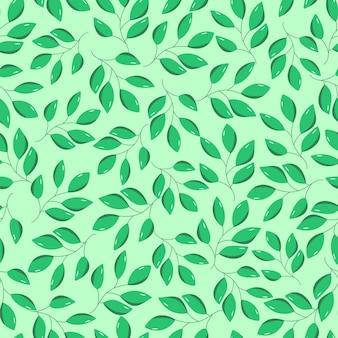 Wzór zielonych liści drzewa liściastego. ilustracja gałęzi krzewów