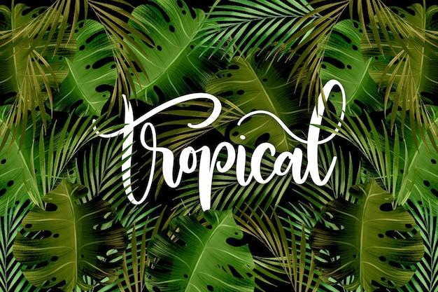 Wzór zielonych liści tropikalny napis
