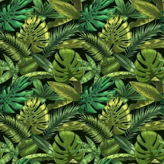 Wzór zielonych liści tropikalnych. kolorowa monstera i tropikalne liście palmowe, ilustracja kwiatowy ogród botaniczny. bezszwowe egzotyczny zwrotnik, zielona dekoracja dżungli