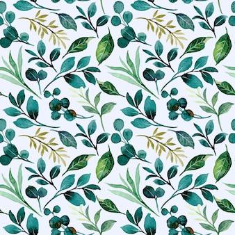 Wzór zielonych liści z akwarelą