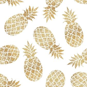 Wzór złote ananasy
