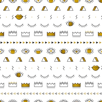 Wzór złotych oczu o geometrycznych kształtach w stylu memphis.