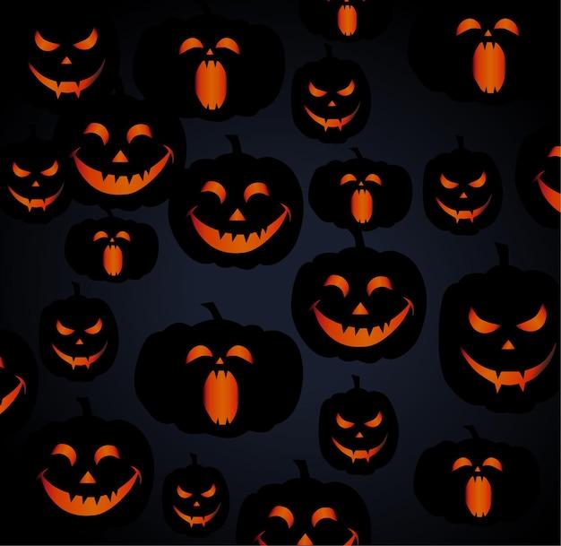 Wzór złożony z lampionów z dyni o różnych wyrazach twarzy.