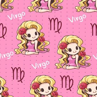 Wzór zodiaku panna kreskówka