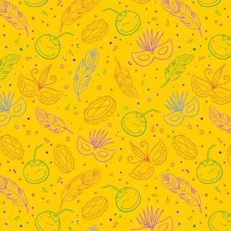 Wzór żółty brazylijski karnawał