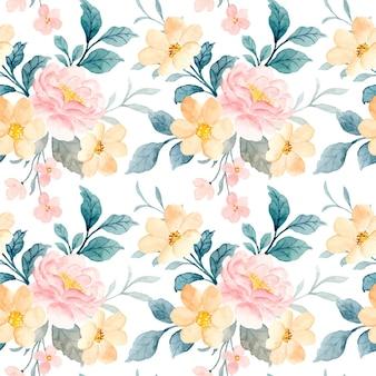 Wzór żółty i różowy kwiat z akwarelą