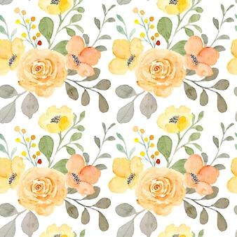 Wzór żółty kwiatowy z akwarelą