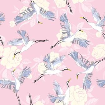 Wzór żurawie i kwiaty