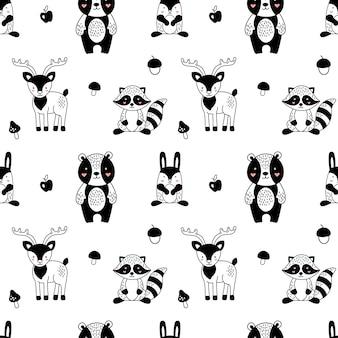 Wzór zwierząt leśnych w skandynawskim stylu dla dzieci.