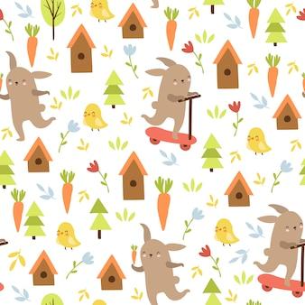 Wzór zwierzęcy doodle, zając, kurczak