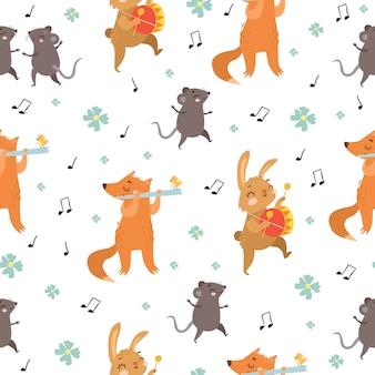 Wzór. zwierzęta grają na instrumentach muzycznych