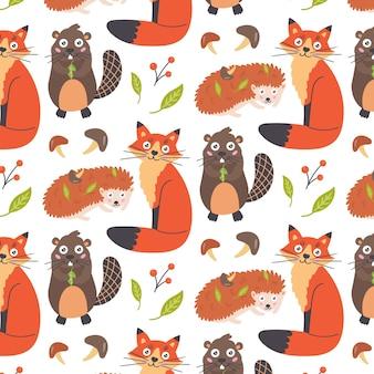 Wzór zwierzęta leśne lis jeż bóbr. tapeta dla dzieci do wystroju przedszkola. nowoczesne płaskie wektor bezszwowe ilustracja
