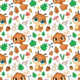 Wzór zwierzęta leśne. wzór jelenia i łosia.