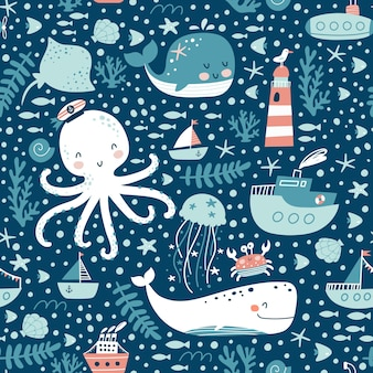 Wzór zwierzęta morskie.