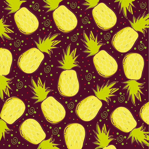 Wzór żywności, ilustracja dekoracji ananasy tropikalnych owoców egzotycznych