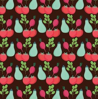 Wzór żywności, pomidory cukinia rzodkiewka świeże warzywa organiczne czarne tło ilustracja