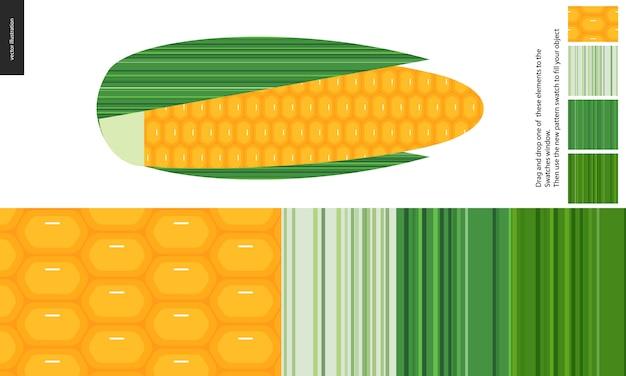 Wzór żywności, warzywa, kukurydza