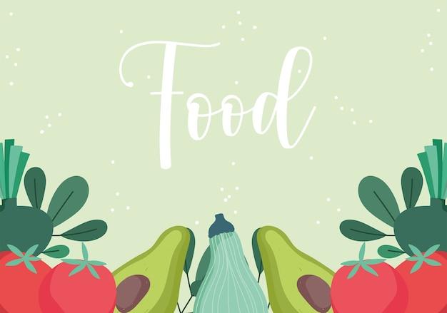 Wzór żywności z awokado pomidorowej dyni i ziół projektowania ilustracji