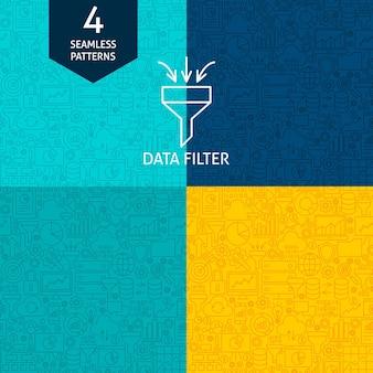 Wzorce filtrów danych liniowych. cztery wektor biznesowe tła.