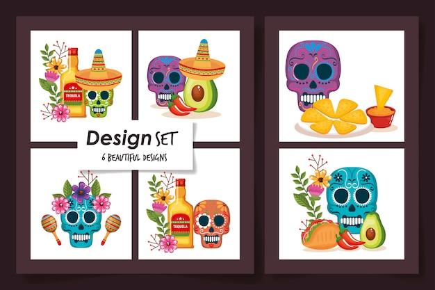 Wzory czaszek z tradycyjnym jedzeniem meksyku