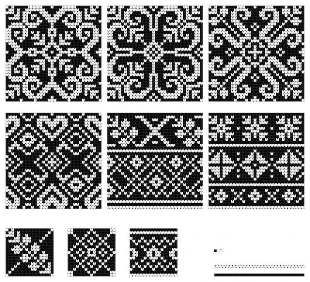 Wzory dziewiarskie northern star w czerni i bieli