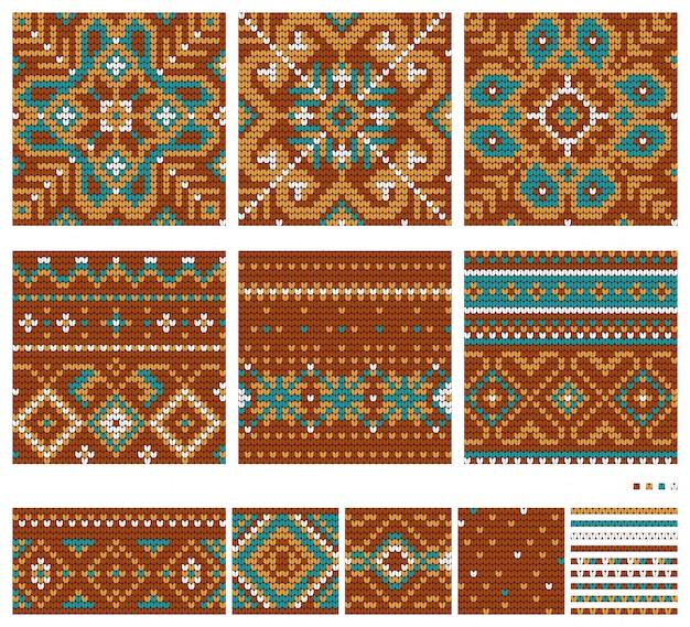 Wzory dziewiarskie northern star w kolorach brązowym i miętowym