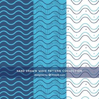 Wzory fal z ręcznie rysowanymi liniami