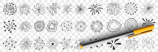 Wzory gwiazd i rysunki linii doodle zestaw ilustracji