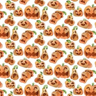 Wzory halloween w stylu przypominającym akwarele