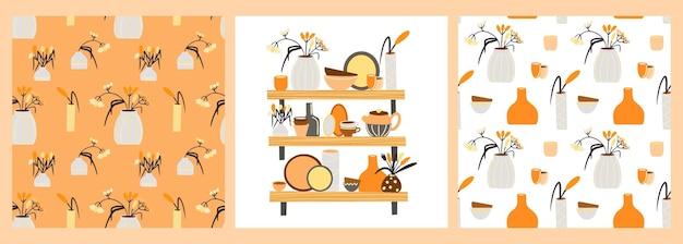 Wzory i plakat z ceramicznymi naczyniami miski i wazony z kwiatami w stylu boho