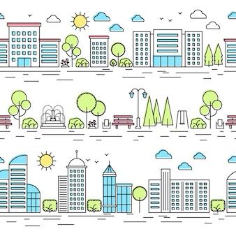 Wzory linii pejzażu miejskiego. zestaw krajobraz miasta cienka linia.