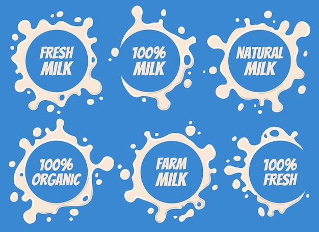 Wzory logo mleka i etykiety