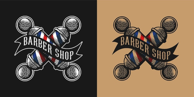 Wzory logo skrzyżowanych słupków fryzjerskich