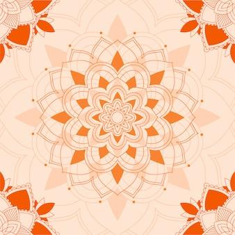 Wzory mandali na pomarańczowym tle