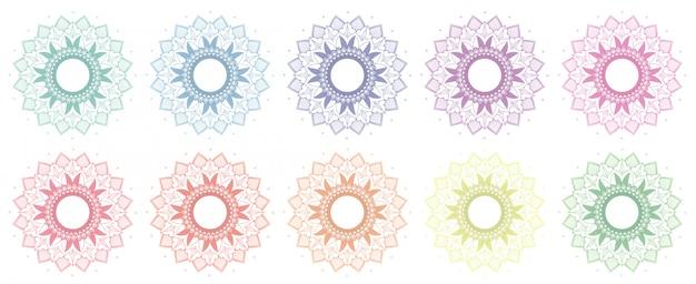 Wzory mandali w wielu kolorach