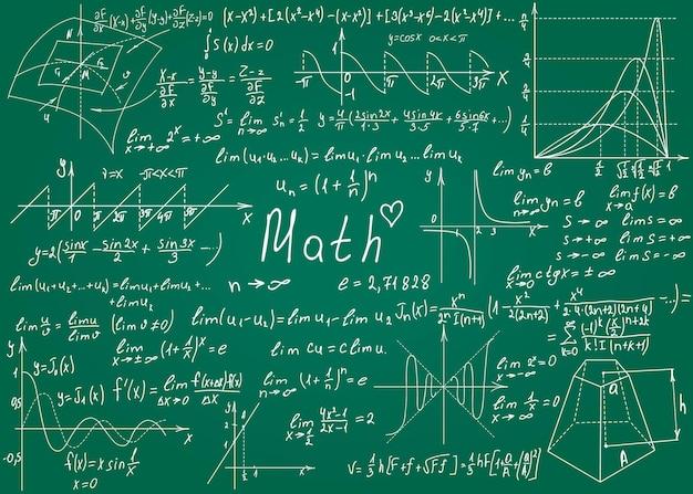Wzory matematyczne rysowane ręcznie na zielonej tablicy na ilustracji wektorowych tła